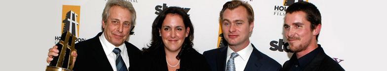 Charles Roven, Emma Thomas, Christopher Nolan, Christian Bale