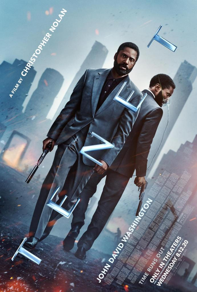 Tenet Poster. John David Washington is front and center holding a gun. The title